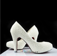 Beautiful high heel White rhinestone pearl high heels pump bride crystal party wedding shoes fashion woman shoes female