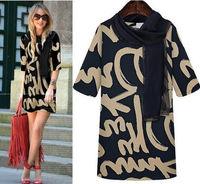 Free shipping 2014 New Europe style Women fashion dress Letter Print Trendy Tunic Mini Dress Chic M L XL XXL XXXL