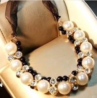2014 New Factory wholesales Fashion Western statement elegant Pearls Elegant Punk choker necklace jewelry