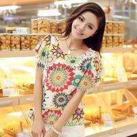 2014 summer new Korean ladies large size printing personalized bat sleeve short-sleeved chiffon shirt m61