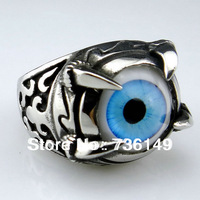 MT Brand, Thai Silver Ring with Exaggerated  Eyeball, Punk Style