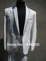 Customized Slim men's suit  Pure with Sequin edge Wedding Groomsmen's dress  2 Color  Size:S-XL  jacket+pant