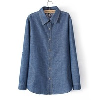 2014 female spring outerwear fashion casual blue and white porcelain plus size denim shirt medium-long long-sleeve denim shirt