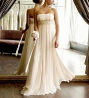 2014 New Free Shipping ! Design Beading Chiffon Long Dress White & Ivory Wedding Dresses In Stock OL33012