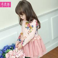 2014 new arrival girls spring dress child floral clothes kids princess long-sleeve dress baby dress wholesale children dress