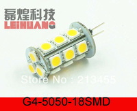 10PCS G4 18-SMD 5050 LED Warm / White 6000K lights Home Car Reading Ceiling lamp bulbs