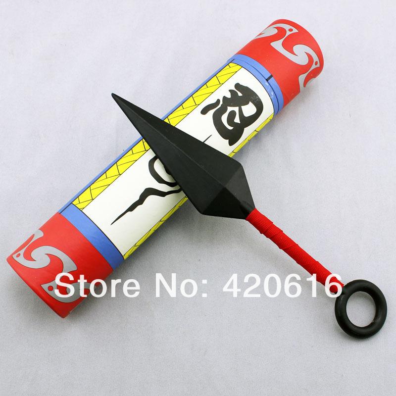 Atacado 10 pçs/lote longo Naruto Cosplay armas animação Red Kunai faca 23.5 * 5 cm grátis frete(China (Mainland))