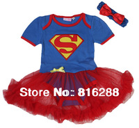 New superman baby girls rompers baby skirt rompers set baby girl summer clothing set 2pcs headband+romper