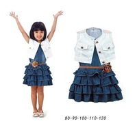 Free shipping 2014  summer new 5pcs/lot Sleeveless denim baby girls Princess dress with belt for 2-6years children in stock