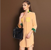 Silk one-piece dress 2014 spring new arrival handmade beading pure colorant match medium-long v-neck