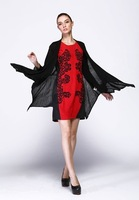2014 women's one-piece dress fashion twinset slim embroidery flower one-piece