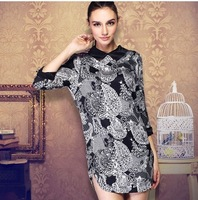 Spring 2014 women's print elastic crepe satin vintage silk one-piece dress