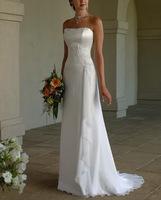 2015 New Free Shipping ! Strapless Chiffon Long Dress With Train White & Ivory Wedding Dresses In Stock OW03012