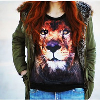 3D Animal Lion Print Womens T-shirt Long Sleeve Fleece Blouse Tops Sweatshirt Free &Dropshipping