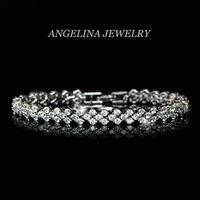 FREE SHIPPING~New Jewelry Fashion 925 Silver Sterling AAA Shining Zircon Classic Elegant Women Bracelet