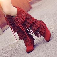 Fashion genuine leather high-heeled boots 2013 platform winter boots tassel boots snow boots high-leg 25pt