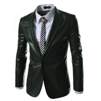 2014 one button Slim Suit new men's casual leather Blazer Jacket Free shipping 2 color 4 size 135079