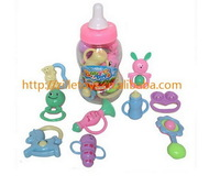 Free Shipping Baby Bottle Rattles Baby Toy 0-1 Year old Newborn Teethers Baby Hand Rattles Combination