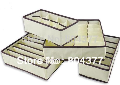 Neue heiße 4 in 1 pro Satz faltbaren ablagebox bambusholzkohle faser Zuhause veranstalter box für bh, unterwäsche, krawatte, socken