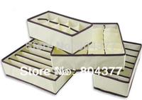 New hot 4 in 1 per set foldable storage box Bamboo Charcoal fibre home organizer Box for bra,underwear,necktie,socks