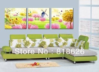3 Pieces Colorful Spring Flowers Scenery Wall Hanging Picture Living Room Bedroom Decor Modern Canvas Painting Art Pt442
