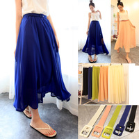 Free Shipping summer fresh bust tulle expansion bottom slim hip chiffon with belt 2014 spring long skirt