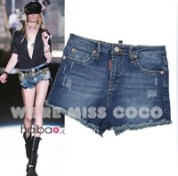 2014 New MISS COCO Hot Vintage Hemming High Waist Denim Skinny Denim Shorts for Ladies Women