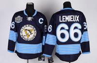 Cheap Mario Lemieux Jersey #66 Pittsburgh Penguins Ice Hockey Jerseys Dark Blue Winter Classic cheap hockey jerseys nhl jersey