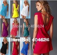 FreeShipping 2014 New Beautiful Sleeveless Hollow Out Backless Cotton Solid Sexy Hot Summer Bikini Dress Beach Skirt Cover-Ups