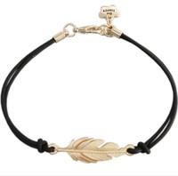 Black / Green /Red / White /Blue rope knitted gold leaf charm bracelet