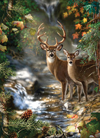 2015 New DIY Needlework Kits Printed Pattern 100% Pure Cotton R Thread Cross Stitch Sets  Deer  by stream