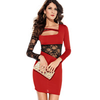 2014 Autumn long-sleeve lace decoration women's sexy prom one-piece dress fashion 2773