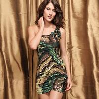 2014 Sweet pink sleeveless fashion feather pattern slim one-piece dress 2527