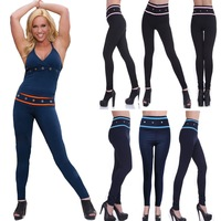 2014 Yoga Sport Gym Gloss Army Giselle Stretched Women's Capri Long Leggings grommets & striping wrap the waist. Presell