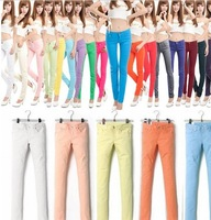 2013new Womens large size Stretch Candy Cotton Pencil Pants Casual Skinny Jeans Trousers  size S -XXXL Colors