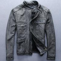 Free shipping men leather jacket stand collar slim short leather clothing retro finishing cowhide leather clothing