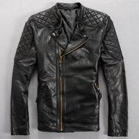 Free shipping Fashion slim sheepskin genuine leather clothing Men stand collar short  leather jacket  zipper motorcycle clothing