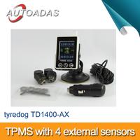 original tyredog TPMS TD1400A-X,4 external sensors,easy installing,PSI/BAR display,english user manual,