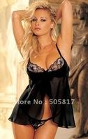 Free drop shipping 1 pc  black lace lingerie babydoll sleepwear women nightwear one size adult chemise w G-string MZ6019