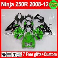 7gifts+ For Kawasaki Ninja 250R 2008 green black 2009 2010 2011 2012 16#107 ZX250R ZX 250 ZX250  08 09 green 10 11 12 Fairing