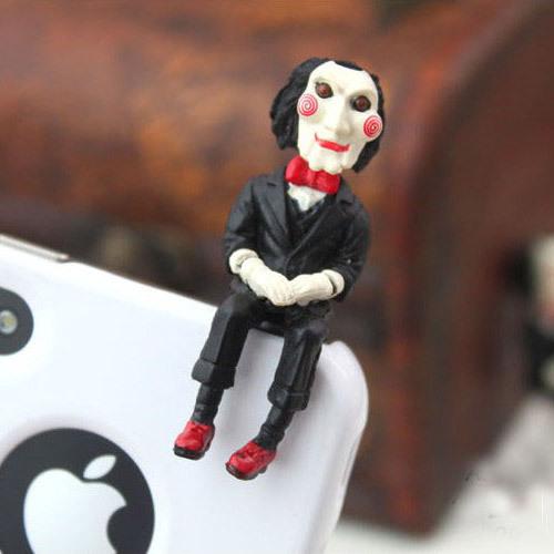 10pcs Fashion SAW Jigsaw Puppet Cover Earphone Plug Movie Doll Anti Dust Ear Cap Phone Accessories Wholesale(China (Mainland))