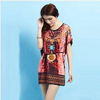 Plus size women dresses wholesale 2015 summer new bohemia bat sleeve Ice silk dress print floral prints lace dress free shipping