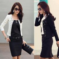 2015 New Ladies Hot Sale Fashion Cool Diamante Rivet Long Sleeve Shrug Slim Small Jacket Coat