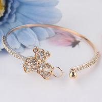 Free Shipping New Fashion Women/Girl's 18k Yellow Gold Filled Bear Austrian Crystal Bracelet Bangle Gift Jewelry
