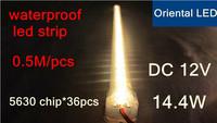 2pcs/lot led rigid strip 5630 waterproof LED strip DC12V 50cm bar light 36PCS 5630 chip/0.5meter,cover with aluminum tank+pc