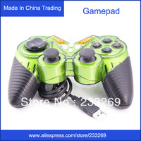 Hot selling Singles double vibration play game joystick free driver GamePad Game Pad Controller for Win98/ME/2000/XP PC colors
