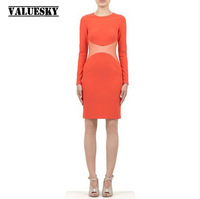 Free Shipping 2014 Sexy Cutout Perspectivity Patchwork Slim Long-sleeve O-neck Fashion Women's One-piece Dress
