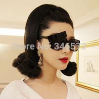 Ladygaga personality bow elegant box sun glasses Women vintage sunglasses  free shipping