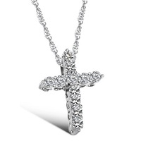 Free Shipping CZ Diamond Cross Necklace with Titanium Chain Crystal High Quality Fashion Ladies Necklace YSDX041