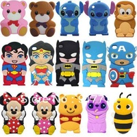 50pcs/lot,Wholesale 3D Minnie Stitch Monkey Batman Bees Silicone Soft Cover Back Case For iPod Touch 4 4TH iTouch 4